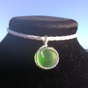 Silver Wrapped Green Sea Glass Wh Leather Necklace